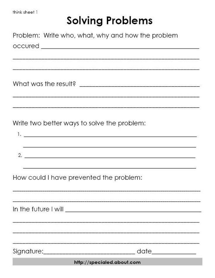 3 Think Sheets For Students Who Break The Rules Problem Solving Worksheet Think Sheets Problem Solving