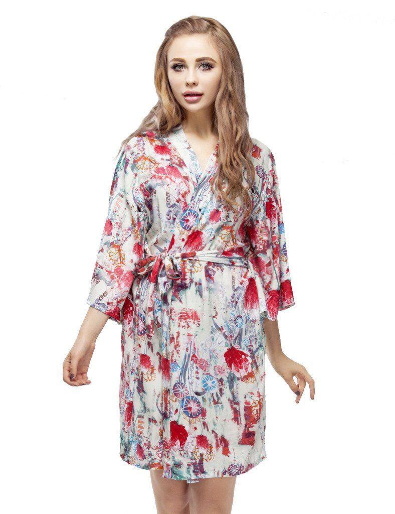Kimono Robe, Floral Pattern Cotton Bridesmaid Robes, Short
