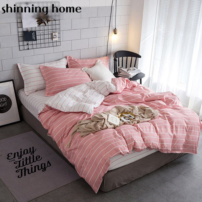 Solid color striped grid 3/4 pcs Bedding Set Twin Full