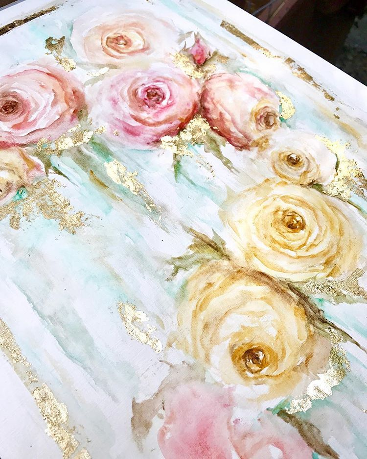 20x16 Watercolor Roses With Gold Leaf Of Course Watercolor