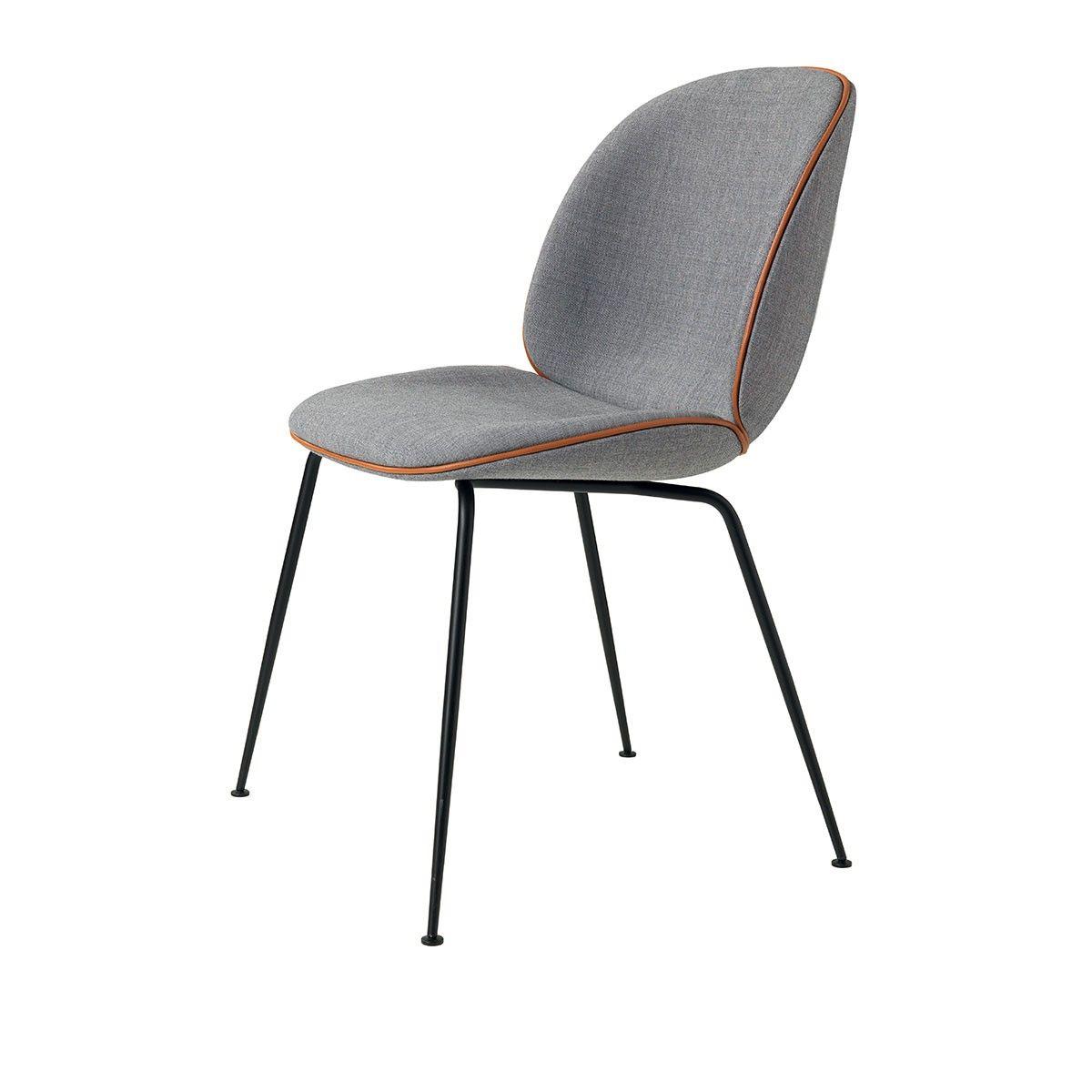 Chaise Beetle Textile Remix Gris Cuir Cognac Pieds Noir Gubi Beetle Chair Gubi Beetle Chair Dining Chairs