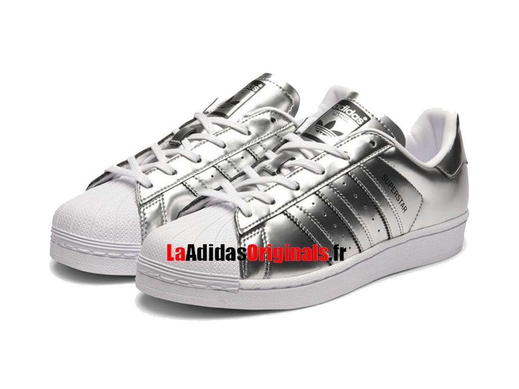 Adidas Originals Superstar W - Chaussure Pas Cher Pour Homme/Femme Métal Argenté Blanc CG3681