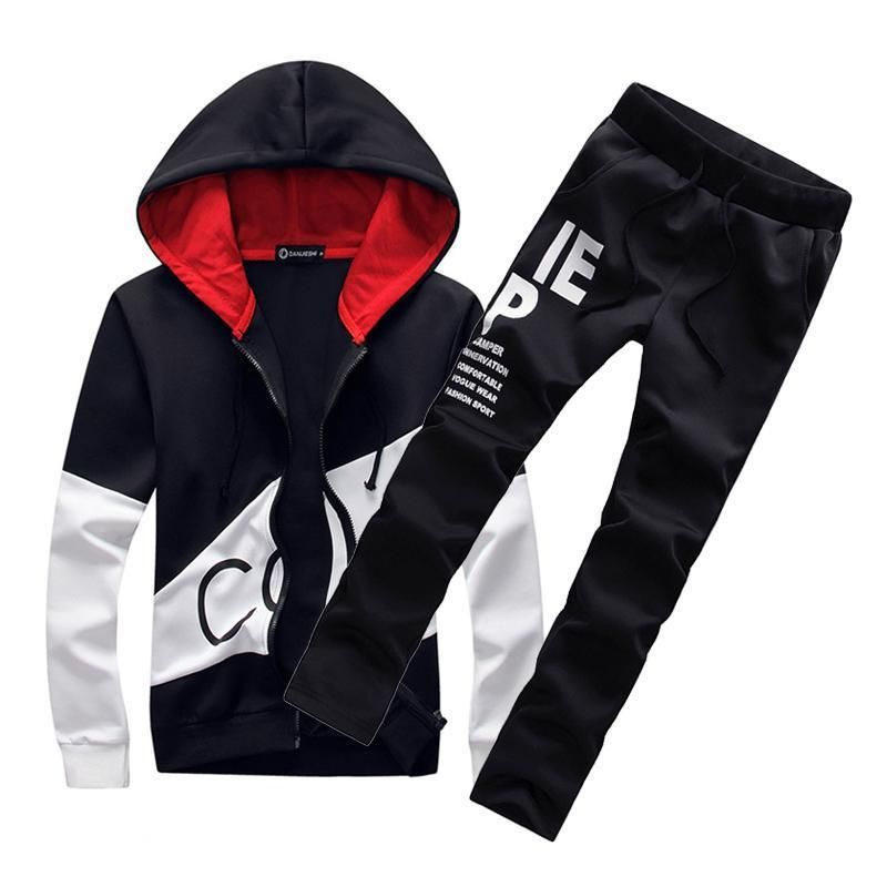 Jogger Suit for Men Set Mens Pullover Athletic Hoodie Jogger Sweat Suit Running Track Suit Stripes Pocket Sweatsuits