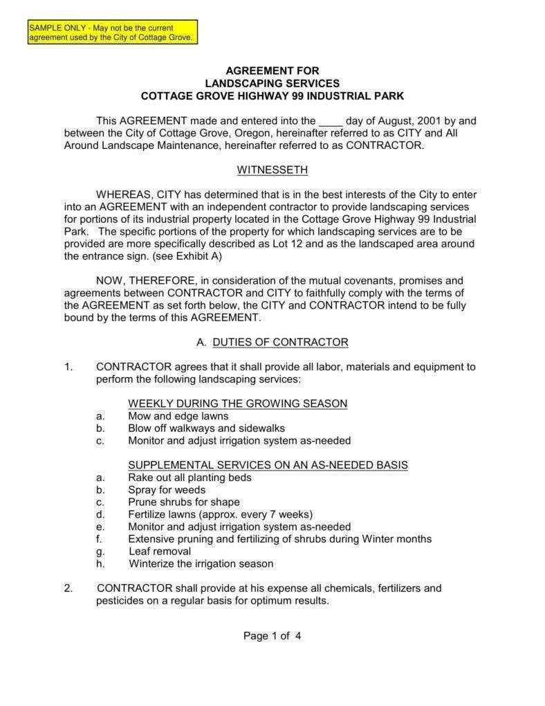 Landscaping Services Contract Templates Word Pdf Apple Pages