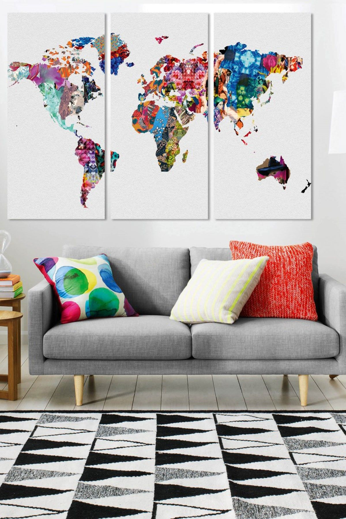 Love the colors of the three panel map of the world perfect for love the colors of the three panel map of the world perfect for a black white room with bright accents gumiabroncs Images