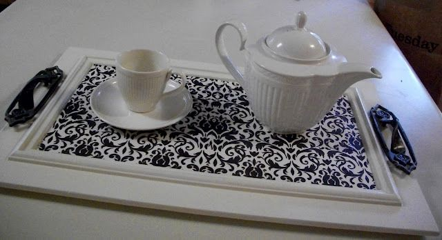 Tray made from old kitchen cabinet door - paint, cover ...