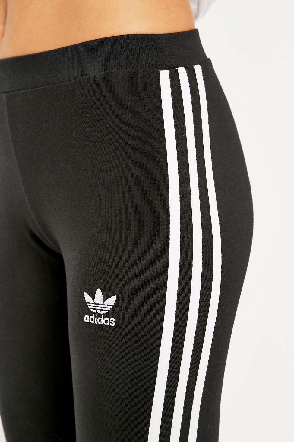 Adidas originals three stripe black leggings urban