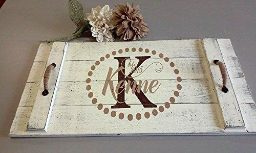 Monogram Wedding Gift Ideas: Wood Pallet Tray, Serving Tray, Personalized Wedding Gift