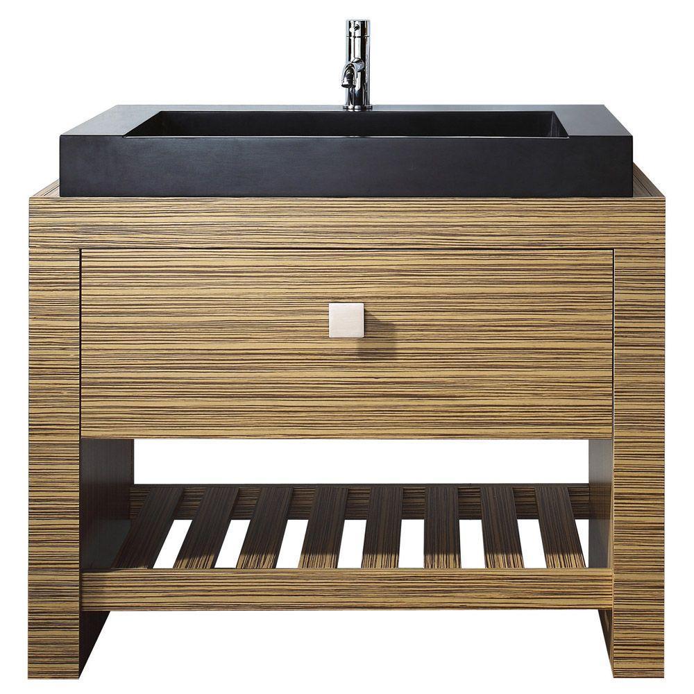 Knox vanity set black granite wood veneer and furniture
