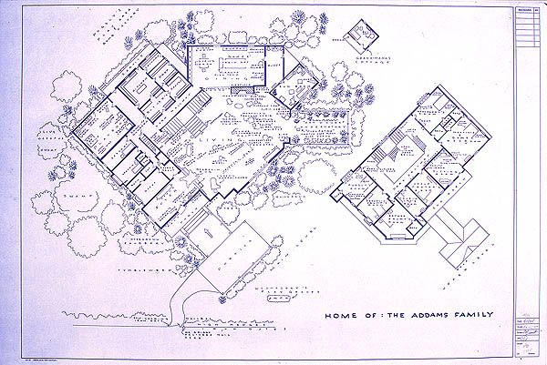 "here is the floorplan of the ""addams family"" house one fan created"