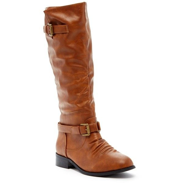 West Blvd Shoes Dallas Riding Boot ($30) ❤ liked on Polyvore featuring shoes, boots, knee-high boots, tan, knee high riding boots, faux leather knee high boots, tan riding boots, buckle riding boots and low heel boots