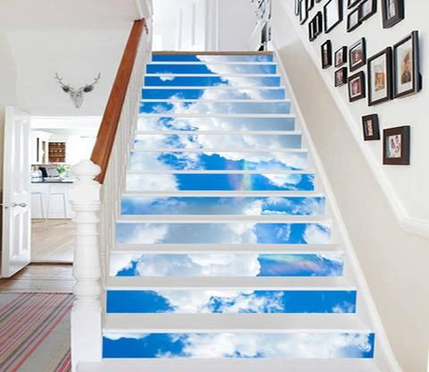 Best 3D Blue Sky White Clouds 571 Stair Risers In 2019 Stair 400 x 300