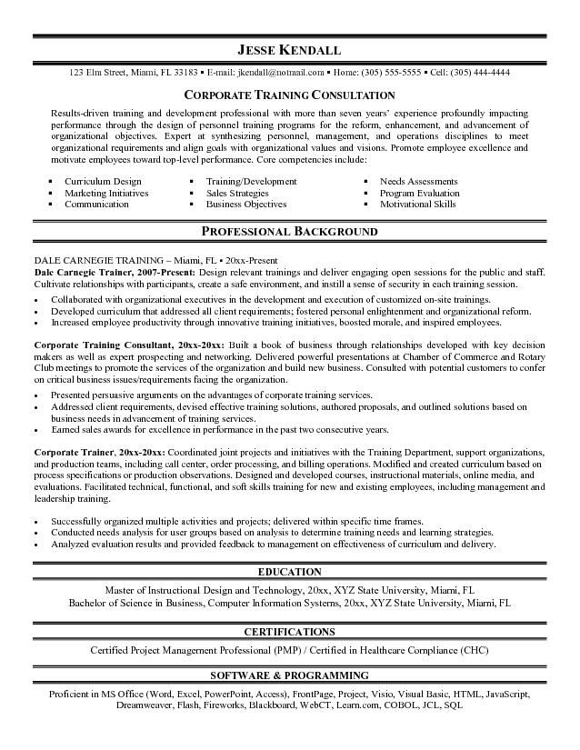 training consultant resume sample