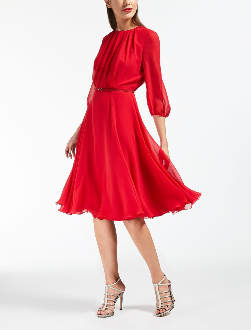 018bab5f607 Max Mara BOBBIO red  Silk georgette dress.