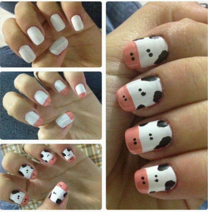 Cow Nail Art Design I Know A Friend With Long Enough Nails To Do This Nail Art Diy Cow Nails Nail Art Designs