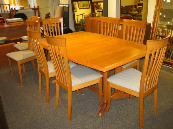Check Out This New Arrival An Outstanding Scan Design Teak Table With 2 Large Leaves For Only 999 00 The Wonderful Set Of 8 Scan Design Chairs Are Also Just