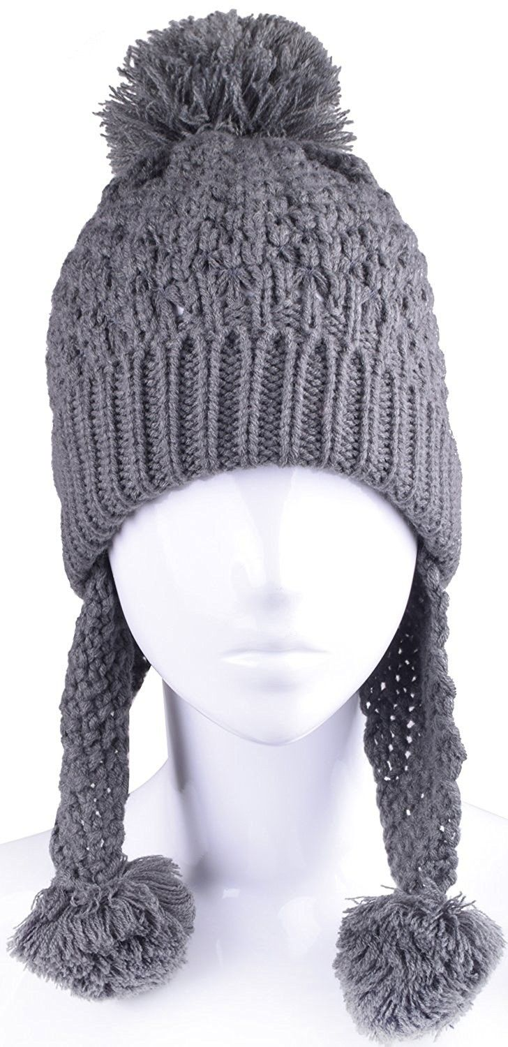 54cb481d0d3 Plain white bomber hat with ear flaps for women fluffy winter hats with  ball on top