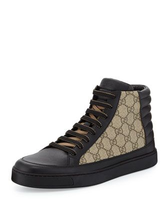 hot sale online b7c97 917ed Gucci Mens Common Leather High-Top Sneakers, Black/Beige ...