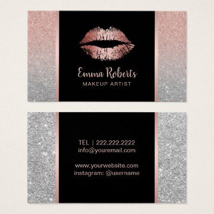 Makeup artist chic lips rose gold silver glitter business card makeup artist chic lips rose gold silver glitter business card makeup artist business customize reheart Image collections