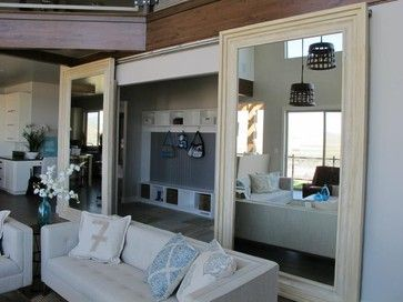 Mirrored Barn Doors In A Living Room Modern Interior Salt Lake City Miv Brand