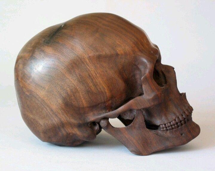 Stunning carved wood skull objets skull skull art wood carving