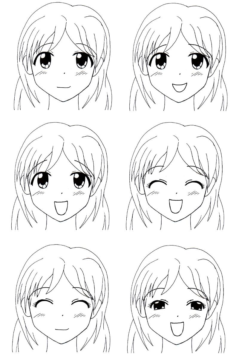 dessin manga visage fille