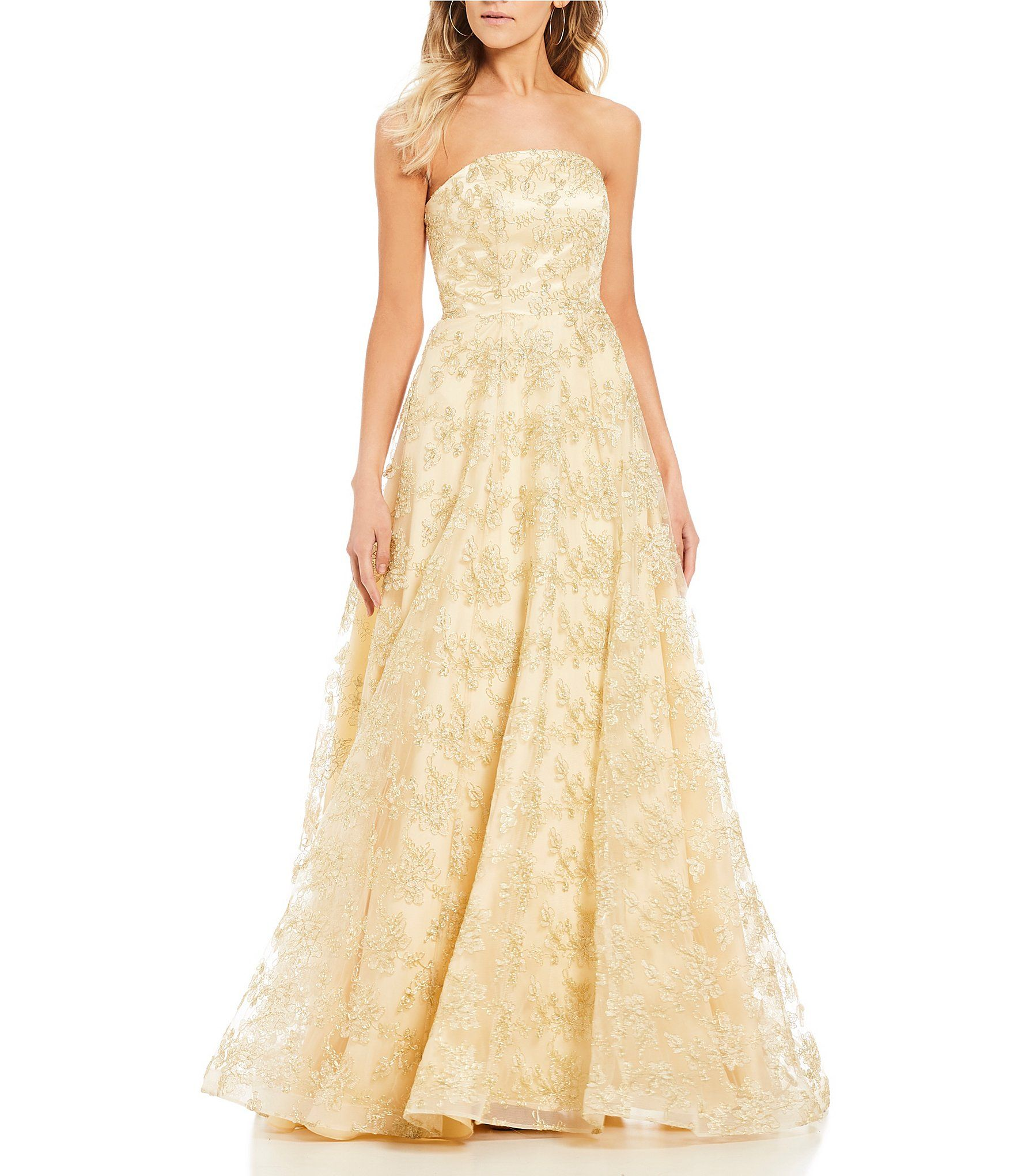B. Darlin Strapless Embroidered Ballgown | Dillards, Ball gowns and ...