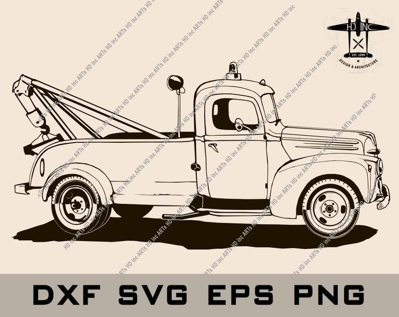 Ford 2 Ton 1946 Retro Towing Truck Vector Illustration Dxf