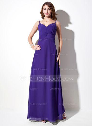 Empire V-neck Floor-Length Chiffon Bridesmaid Dress With Ruffle (007001784) - JenJenHouse