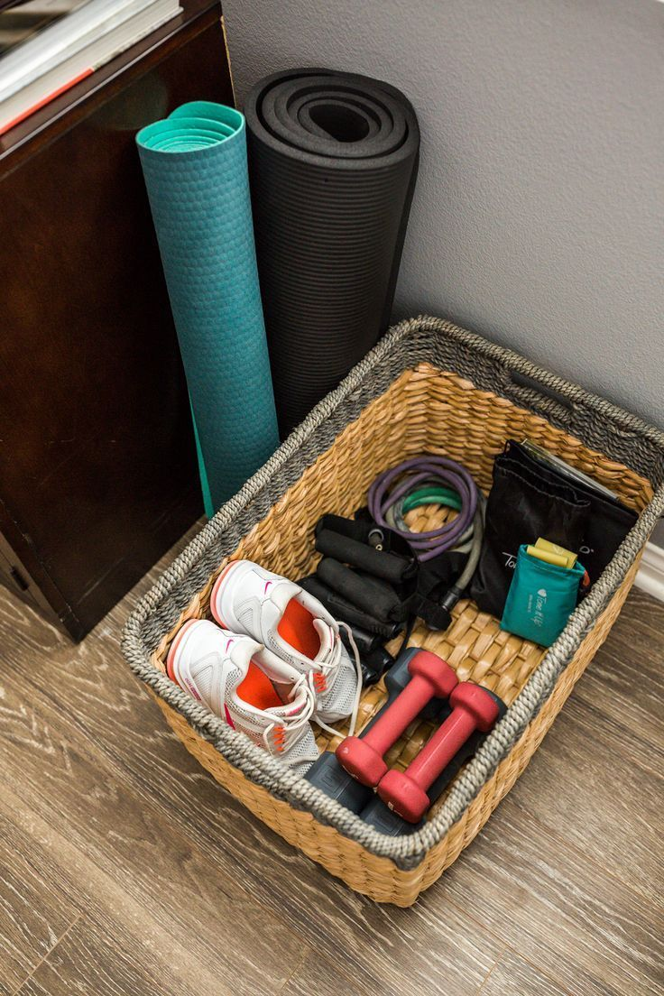 Photo of Create an organized area in your home for your workout gear with just a pretty b…