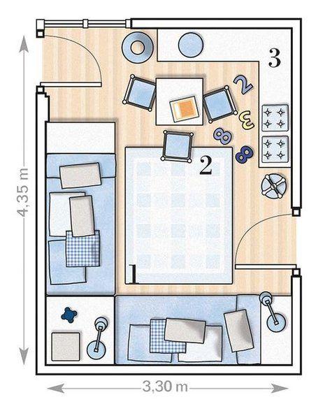 Dormitorio con dos camas colocadas en l el dormitorio for Plano habitacion online