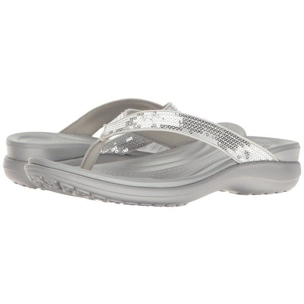 9f80e579f373ff Crocs Capri V Sequin (Silver) Women s Sandals ( 45) ❤ liked on Polyvore  featuring shoes