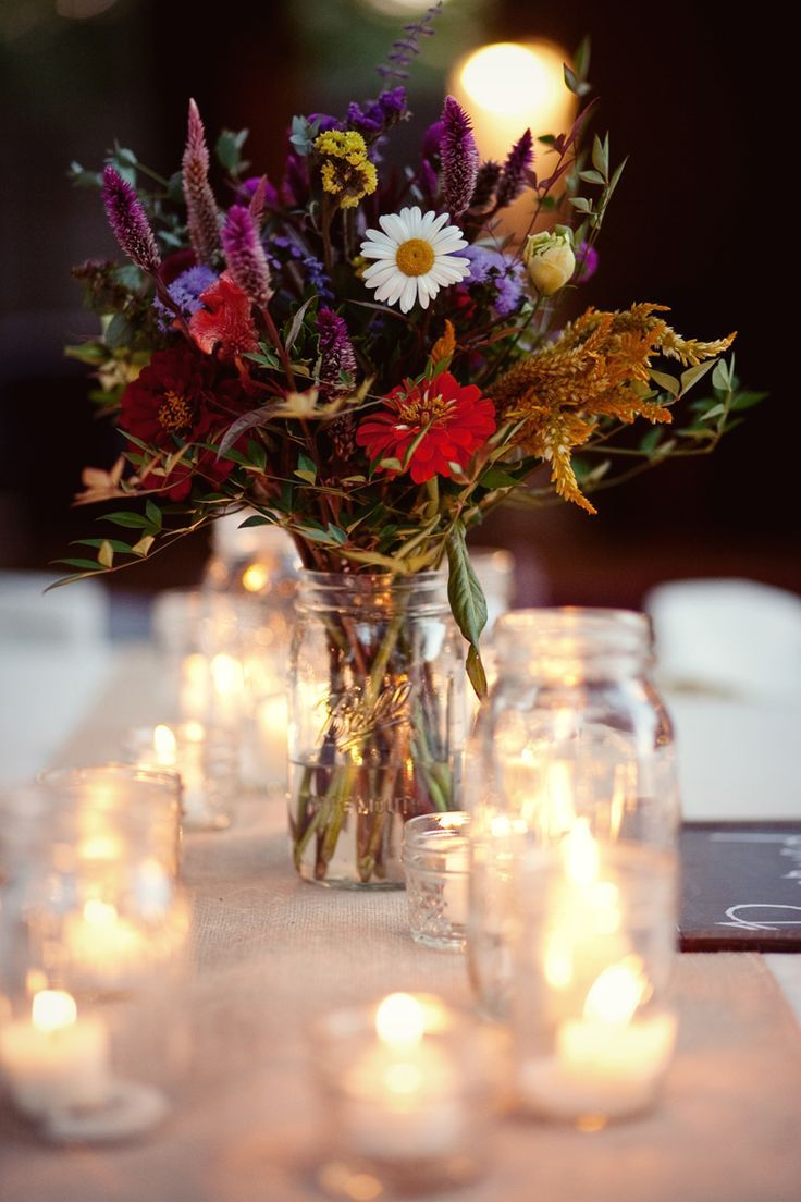 134 best images about Wedding & Shower Centerpieces in Mason Jars ...