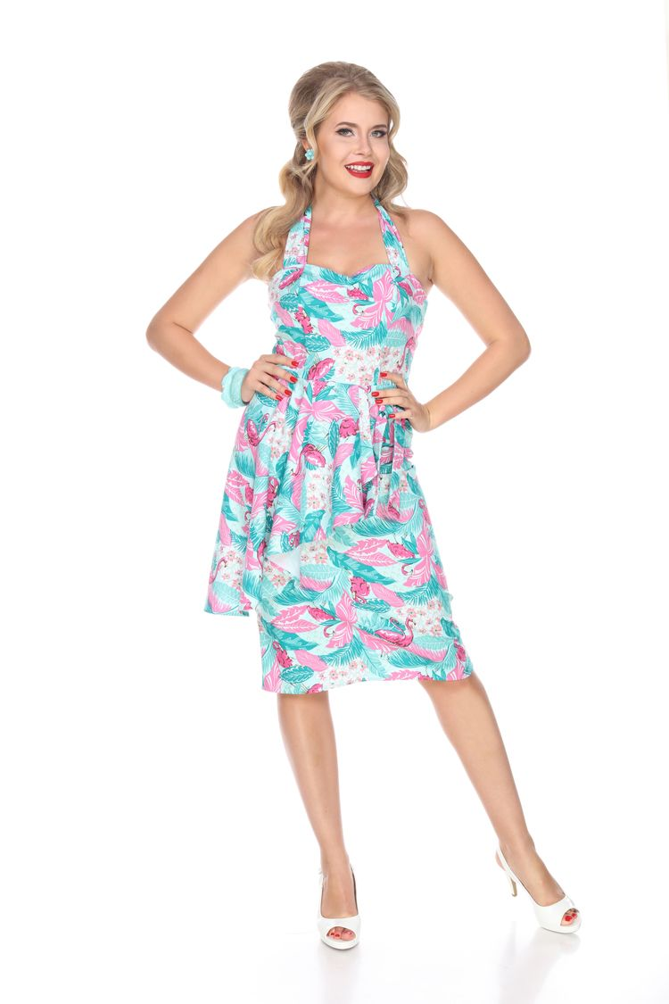 Hilo Honey Sarong Dress in Flamingo