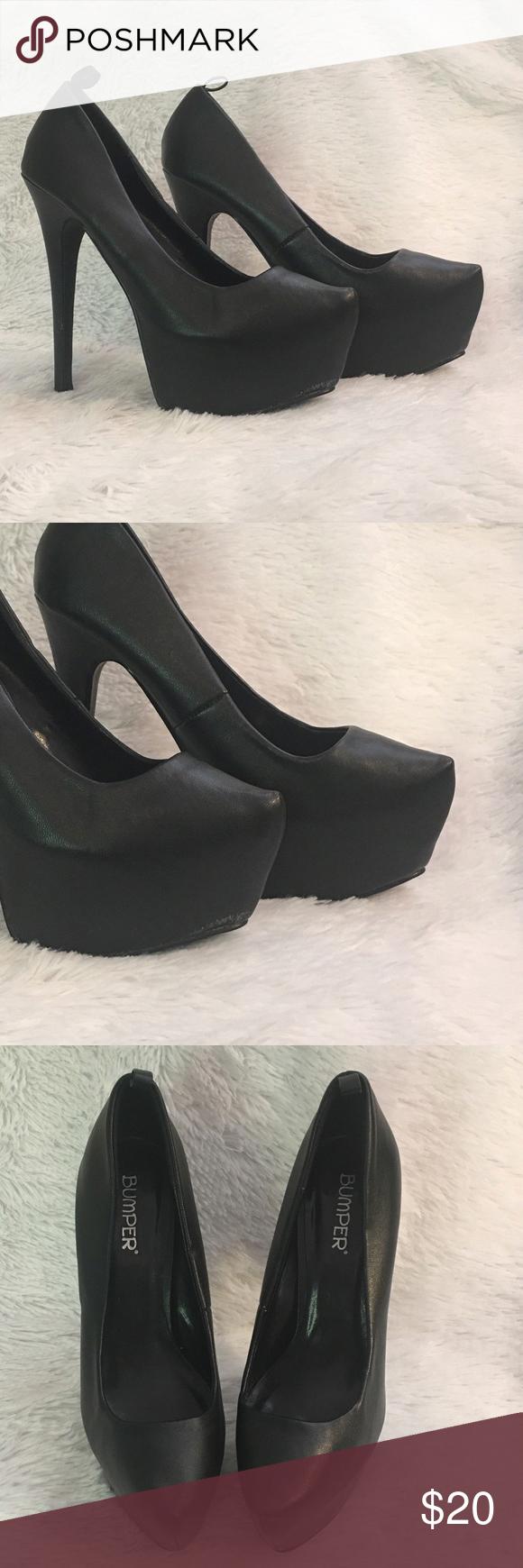 f20365d02f68 Bumper Black Pointy Toe Platform High Heel Bumper Elle12 Platform high heel  in great condition!