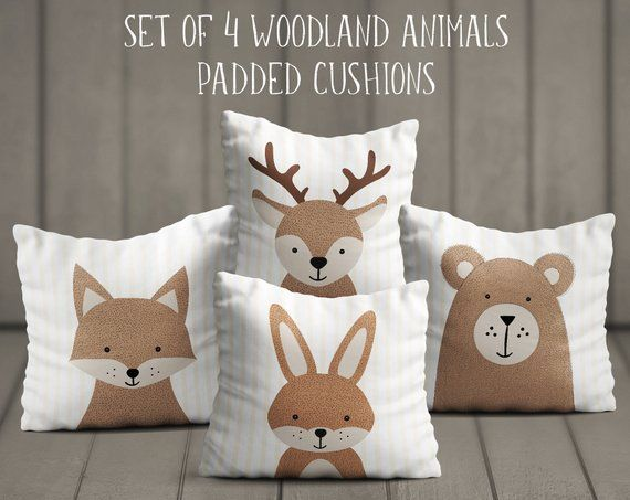 Woodland Animals Padded Cushion - Forest Animals Double Sided Pillow Gift - New Baby Nursery Decor - Cushions for Babies and Children