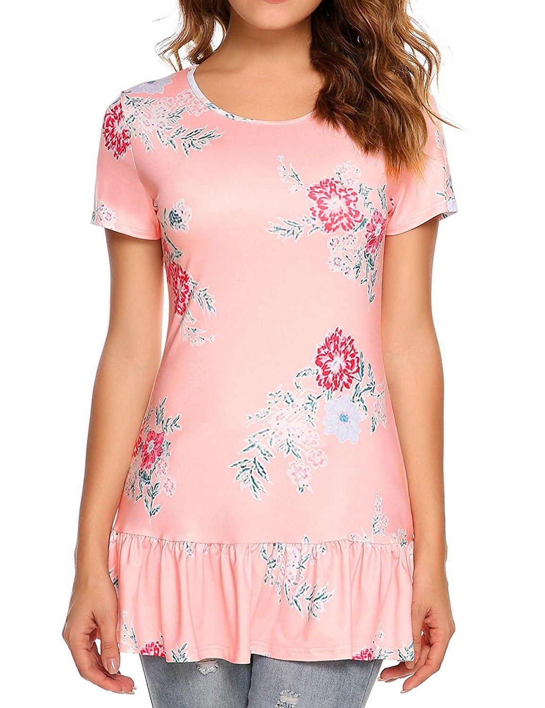 d8c11ca634f Women s Short Sleeve Floral Print Boho Summer Top Blouse - Pink -  CB182YM0H2Y