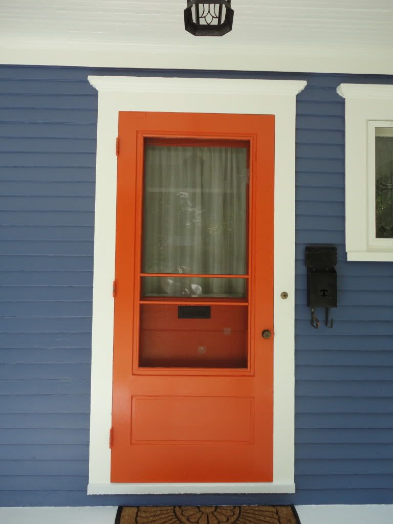 White Craftsman House #orange Front Door....like The Color Scheme | For The Home