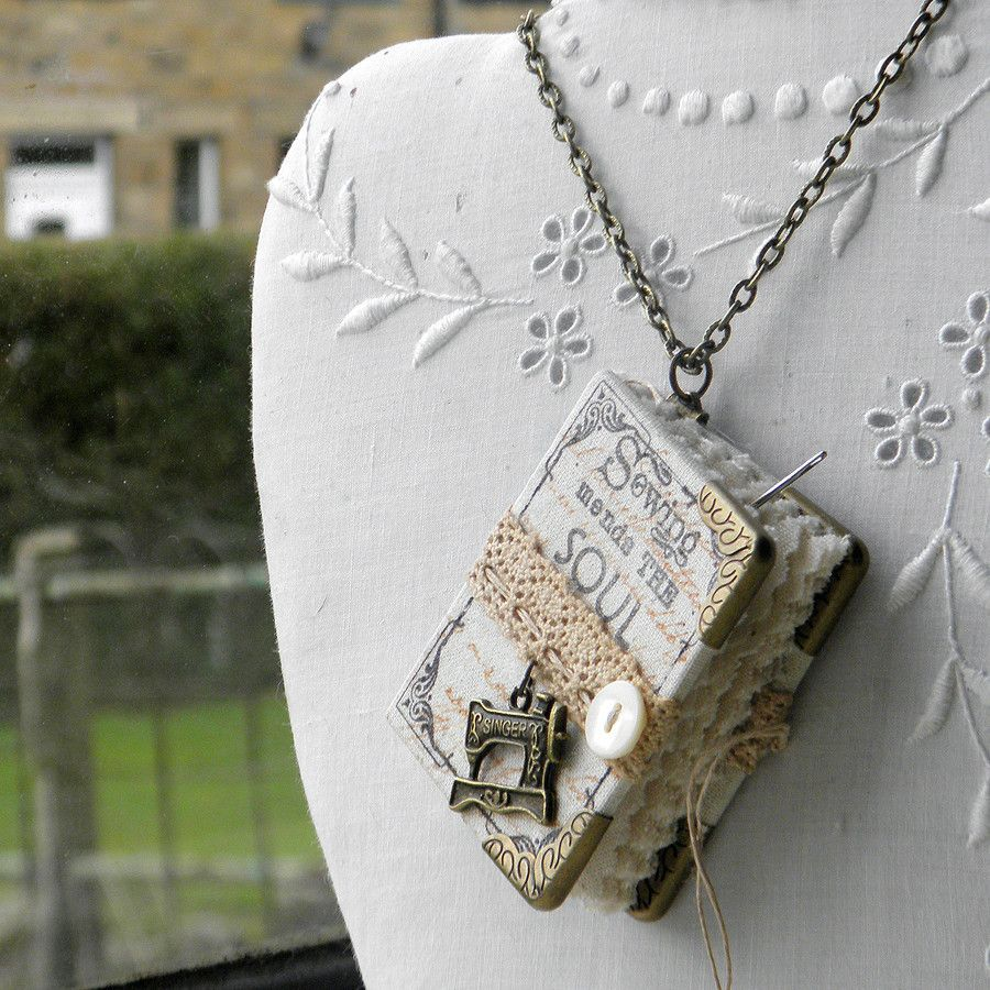 'Sewing Mends the Soul' Miniature Needlebook Necklace
