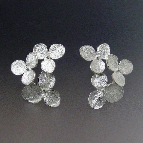 Flower Stud Earrings Hydrangea By Patrickirlajewelry Too Bad My Wedding Was 9 Years Ago Because These Would Have Been Perfect