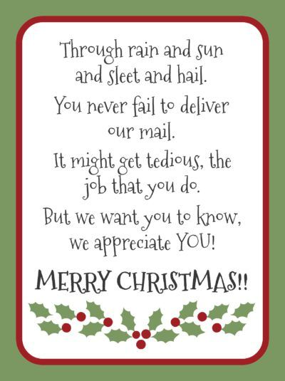 foto de mail-carrier-merry-christmas | Neighbor christmas gifts, Christmas ...