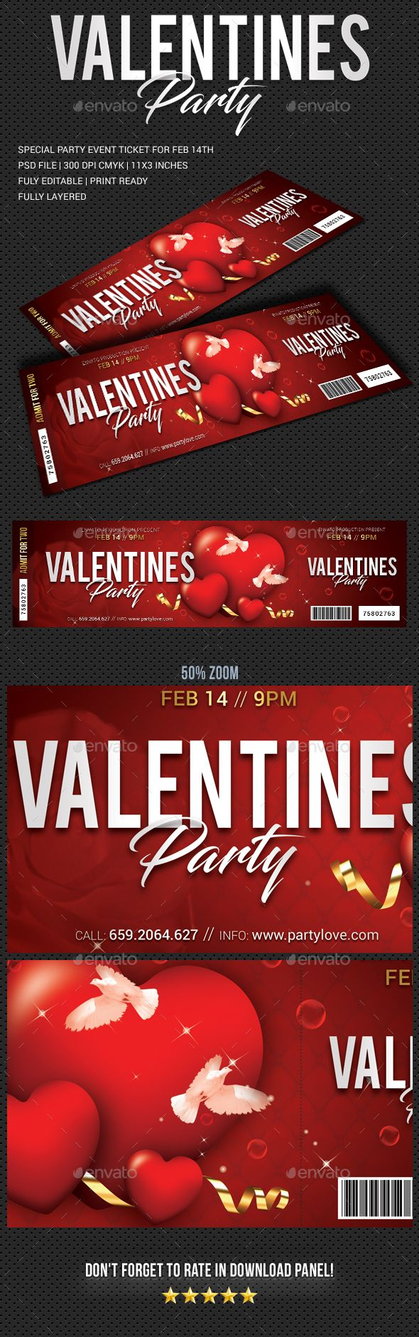 Valentines Party Event Ticket Cards Invites Print Templates