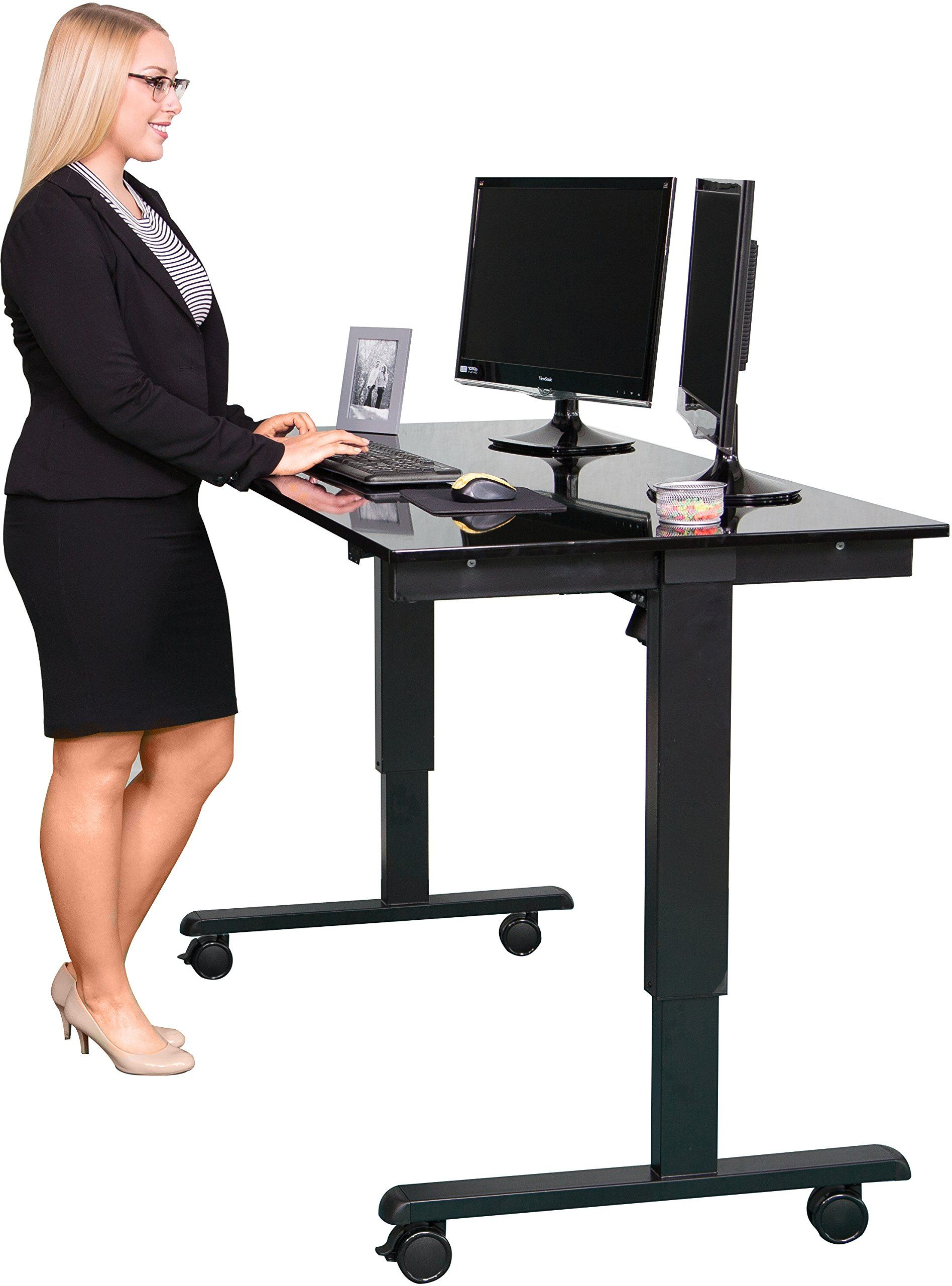 Stand Up Desk Store 60 Inch Electric Stand Black Frame Gloss