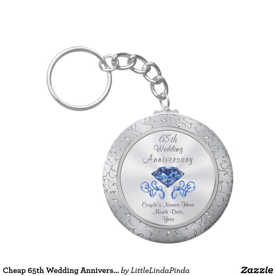 Cheap 65th wedding anniversary party favors keychain