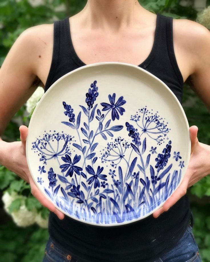 Finished platter from my painting video a little o... - #Finished #painting #Platter #porcelaine #Video #paintedpottery