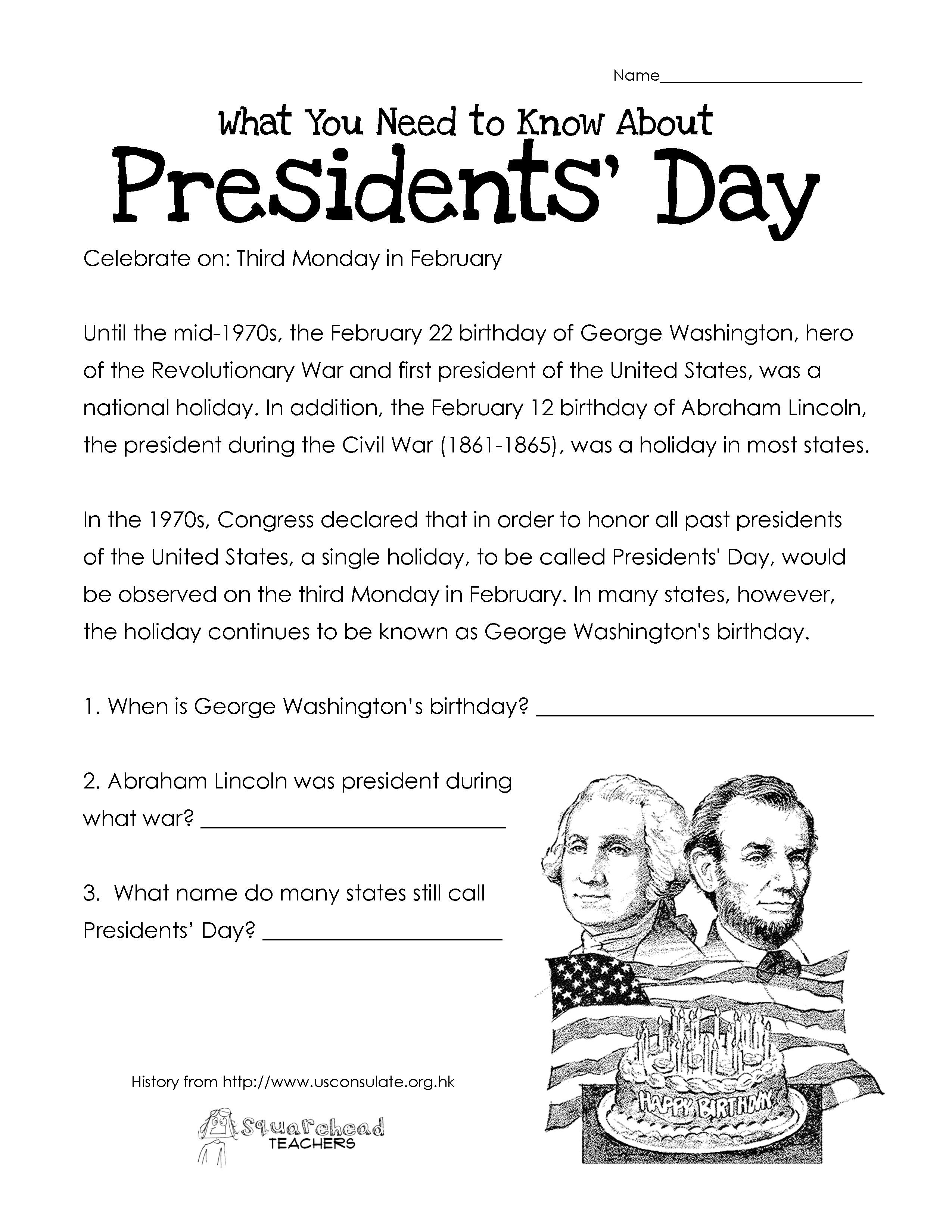 worksheet Abraham Lincoln Worksheets what you need to know about presidents easy comprehension page day free worksheet