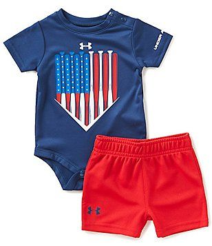 Under Armour Baby Boys Newborn 12 Months American Batter Americana Bodysuit Shorts Set Baby Clothes Baby Boy Shorts Baby Boy Outfits