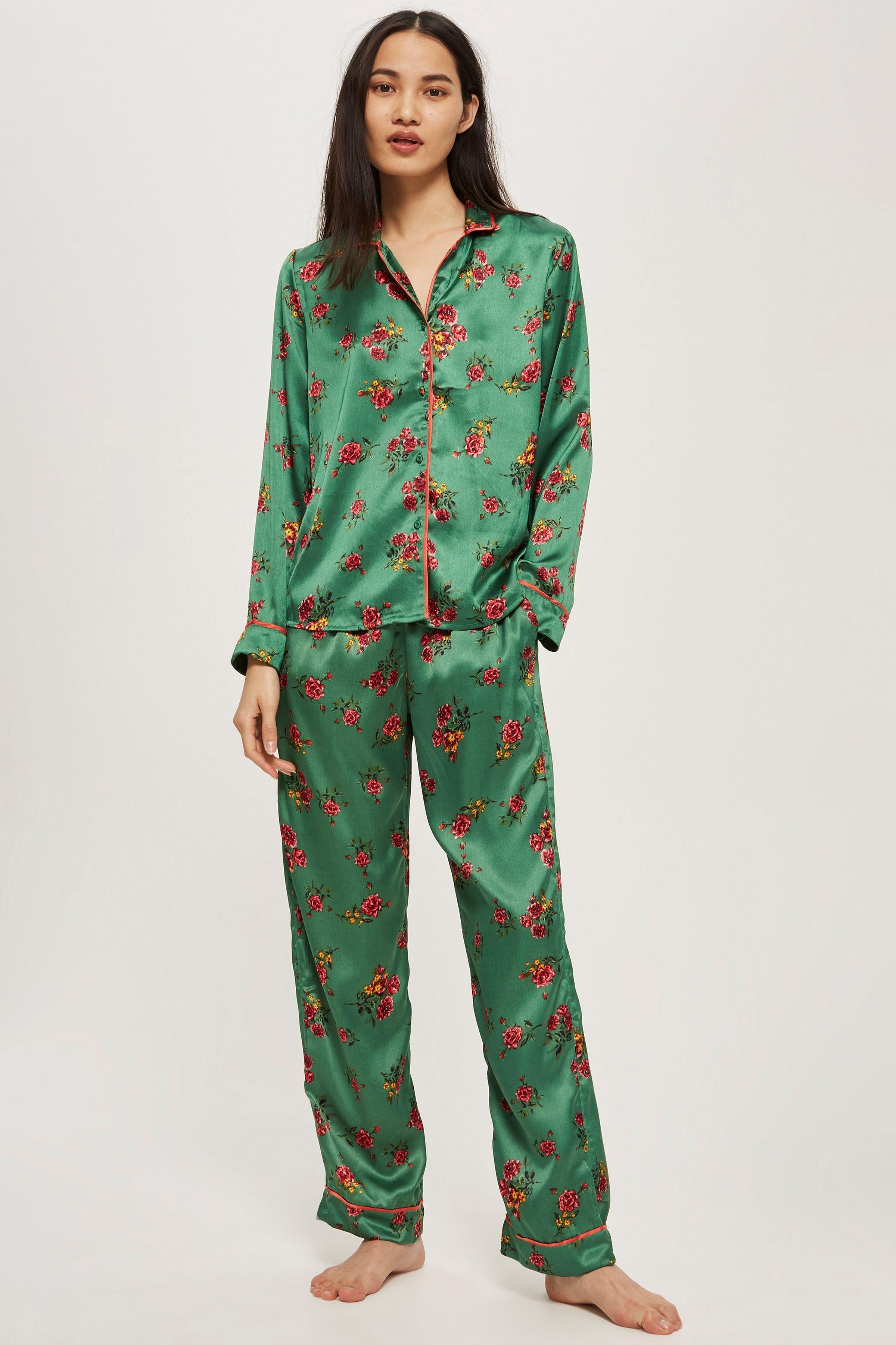 authentic finest fabrics no sale tax Green Satin Pyjama Set   pijama   Satin pyjama set, Satin ...