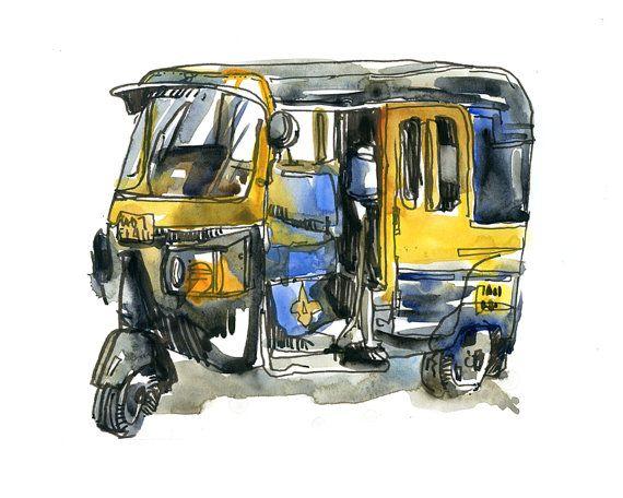 L Inde Esquisse Auto Rickshaw En Jaune Et Noir Mumbai Tirage A