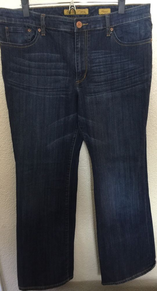 Seven 7 Premium Denim Jeans Flare Size 16 Stretch Plus Size Dark ...